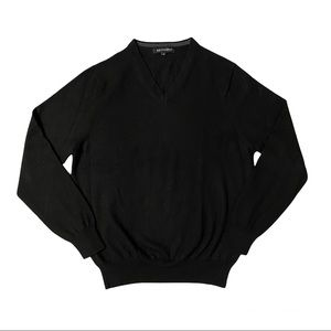 BRITCHES Men's Black Lightweight V-Neck Long Sleeve Sweater Size M